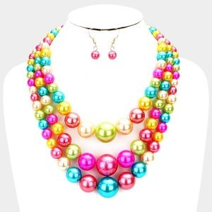 Multi Colored Beaded Pearl Strand Necklace Set